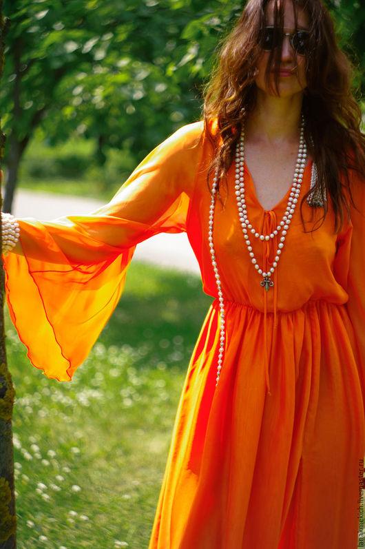 """Платья ручной работы. Ярмарка Мастеров - ручная работа. Купить Длинное платье из шифона с разрезом """"Солнце в бокале"""""""". Handmade. Оранжевый"""