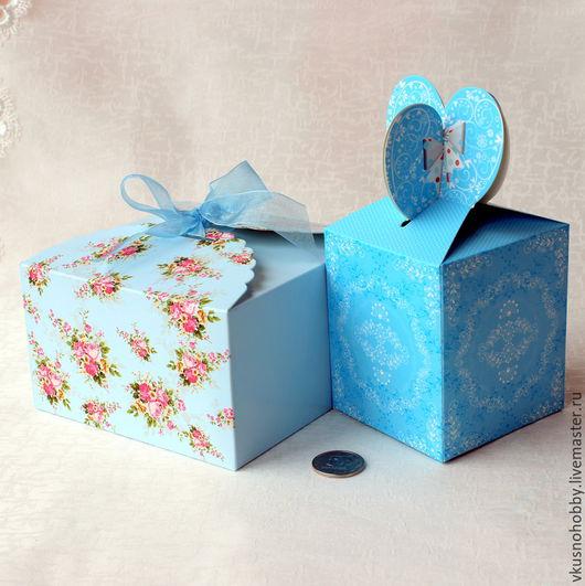 Упаковка ручной работы. Ярмарка Мастеров - ручная работа. Купить Коробка. Голубой принт 8,5х8,5х10 Картон самосборная с рисунком. Handmade.