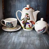 """Посуда ручной работы. Ярмарка Мастеров - ручная работа Чайный сервиз """"Алиса в стране чудес"""" 14 предметов. Handmade."""