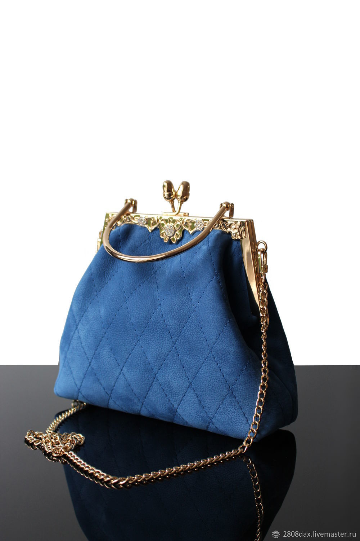 Blue suede evening bag, gold and blue, Classic Bag, Bordeaux,  Фото №1