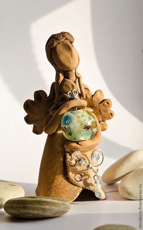 """Статуэтки ручной работы. Ярмарка Мастеров - ручная работа. Купить Скульптура """"Ангел Эгейского моря"""" лэмпворк, керамика. Handmade. Ангел"""