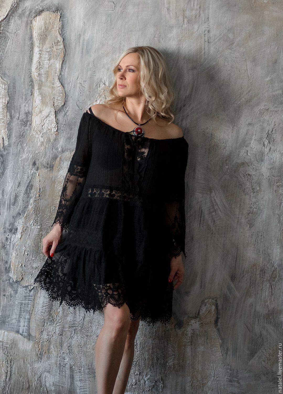 Черное платье туника с доставкой