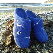 Slippers handmade. Livemaster - original item Mens felted Slippers Sea. Handmade.