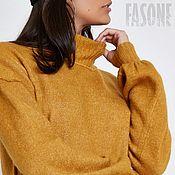 """Одежда ручной работы. Ярмарка Мастеров - ручная работа Платье желтое вязаное """"Французская горчица"""" Желтое платье Желтое. Handmade."""