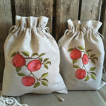 Для дома и интерьера ручной работы. Ярмарка Мастеров - ручная работа Льняной мешочек для яблок. Handmade.