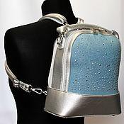 Сумки и аксессуары ручной работы. Ярмарка Мастеров - ручная работа Голубой со стразами (блестит) стильный джинсовый рюкзак. Handmade.