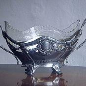 Винтаж ручной работы. Ярмарка Мастеров - ручная работа антикварная ваза-ладья. олово, хрусталь. Handmade.