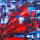 Large abstract painting 'Red butterfly' on canvas. Pictures. Svetlana Samsonova. My Livemaster. Фото №6