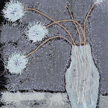 Картины и панно ручной работы. Ярмарка Мастеров - ручная работа Текстильная картина Одуванчики. Handmade.