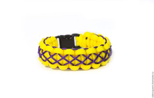 """Браслеты ручной работы. Ярмарка Мастеров - ручная работа. Купить """"Паутинка жёлтый с фиолетовым"""" браслет из паракорда. Handmade. Плетеный браслет"""