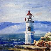Картины и панно handmade. Livemaster - original item Tokarevskiy lighthouse, g. Vladivostok, Russia, oil painting. Handmade.