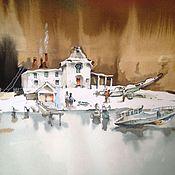 """Картины и панно ручной работы. Ярмарка Мастеров - ручная работа акварель """"замерзшая вода """". Handmade."""