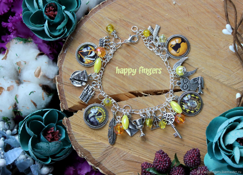 Bracelet 'Puffinus', Harry Potter hufflepuff yellow badger, Bead bracelet, Elektrostal,  Фото №1