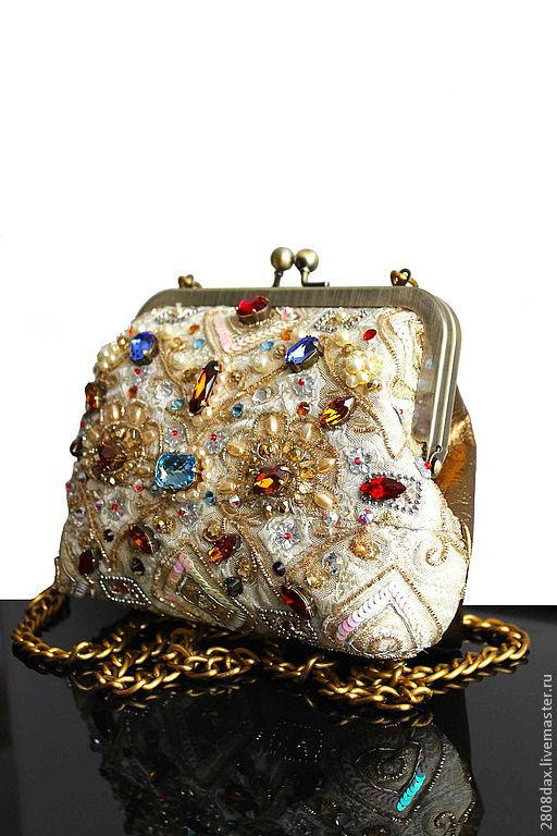 Evening handbag with embroidery, Classic Bag, Bordeaux,  Фото №1