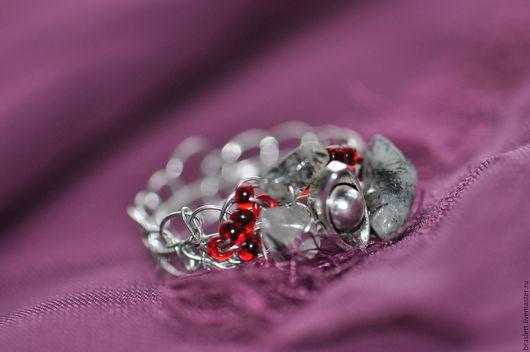 Кольца ручной работы. Ярмарка Мастеров - ручная работа. Купить кольцо гранатовый лед. Handmade. Бордовый, серебристое кольцо