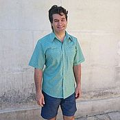Одежда ручной работы. Ярмарка Мастеров - ручная работа Мужская рубашка Яблочко Хлопок 100%. Handmade.