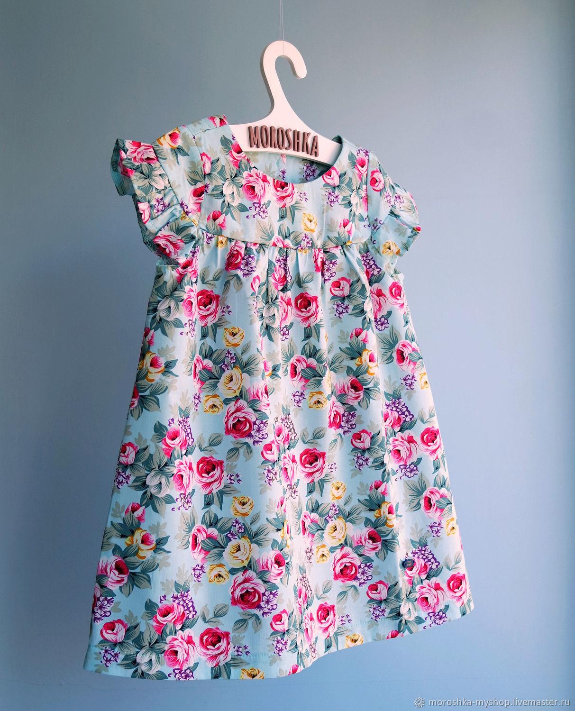 Платье для девочки из хлопка, Розы на бирюзе