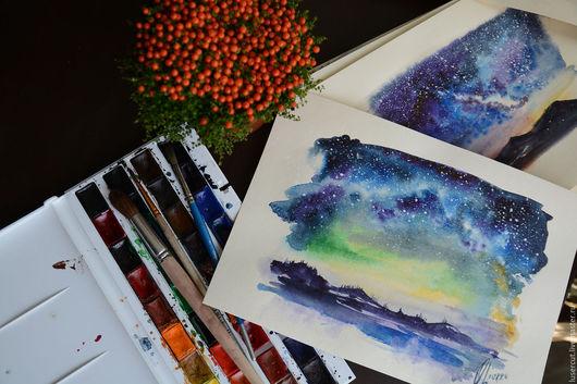 """Пейзаж ручной работы. Ярмарка Мастеров - ручная работа. Купить Акварель """"Звездное небо""""/ """" Галактика"""". Handmade. Тёмно-синий"""