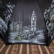 """Зонт с ручной росписью """"Дождливый Лондон""""."""