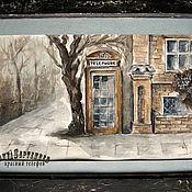 Картины и панно handmade. Livemaster - original item Watercolour TELEPHONE BOOTH series London sketches. Handmade.