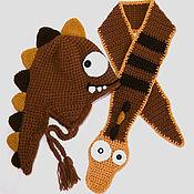 """Работы для детей, ручной работы. Ярмарка Мастеров - ручная работа Комплект """"дракон"""" шапка шарф (детская зимняя теплая вязаная коричневый. Handmade."""
