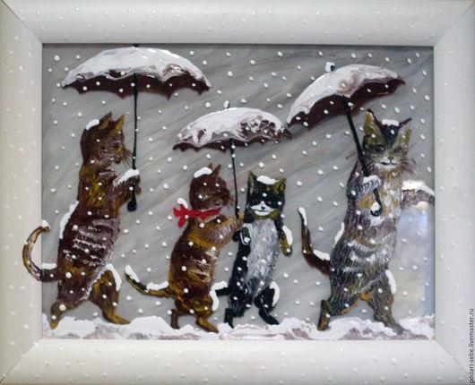 Животные ручной работы. Ярмарка Мастеров - ручная работа. Купить Семья котов под снегом. Handmade. Белый, коричневый, Снег