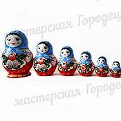 Русский стиль handmade. Livemaster - original item Matryoshka 10 (Gorodetskaya Rospis). Handmade.