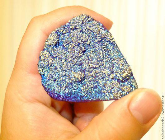 Для украшений ручной работы. Ярмарка Мастеров - ручная работа. Купить Друза агата кабошон титановый синий. Handmade.