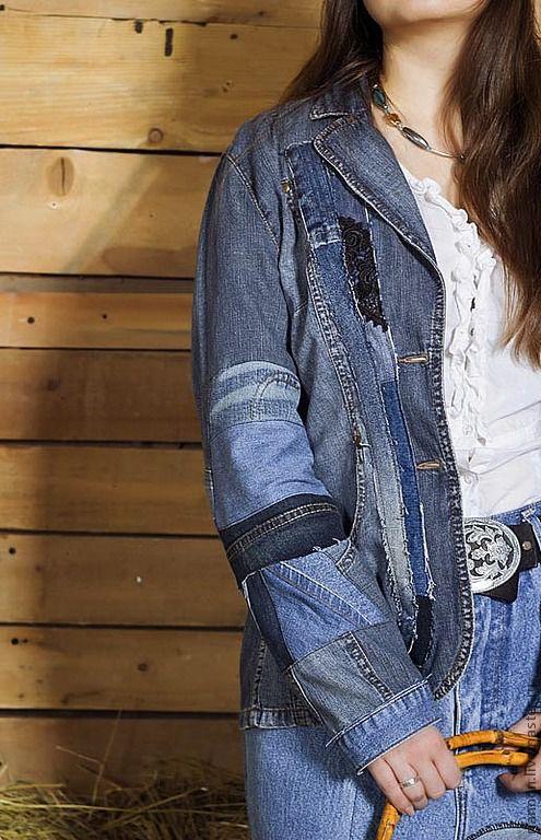 Пиджаки, жакеты ручной работы. Ярмарка Мастеров - ручная работа. Купить Бохо-пиджак женский. Handmade. Тёмно-синий, джинса