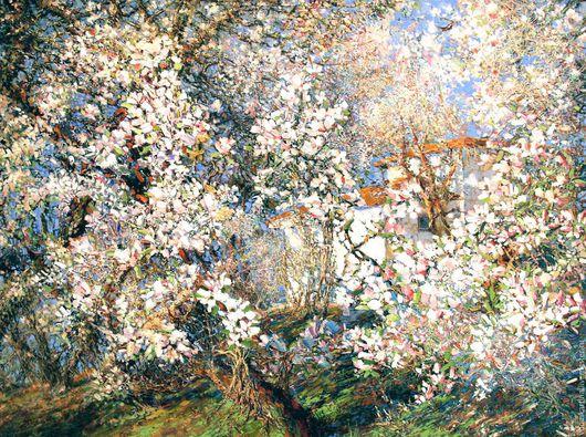 """Пейзаж ручной работы. Ярмарка Мастеров - ручная работа. Купить """"Весна в Крыму"""". Handmade. Белый, цветущий сад, весна в крыму"""