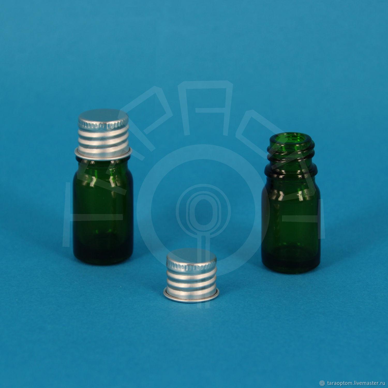 Упаковка ручной работы. Ярмарка Мастеров - ручная работа. Купить Флакон 5 мл. стеклянный с алюминиевой крышкой, зелёный. Handmade.