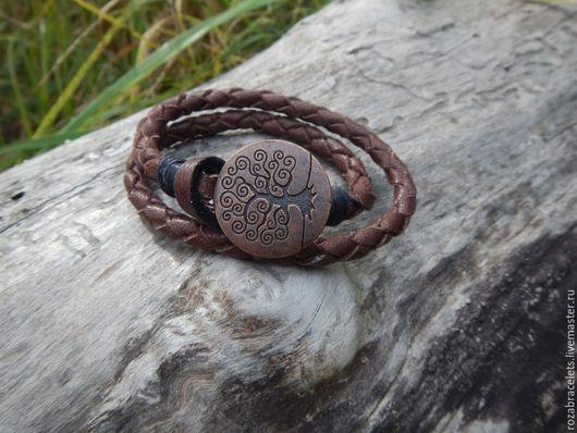 Браслеты ручной работы. Ярмарка Мастеров - ручная работа. Купить Кожаный плетеный браслет обмотка Древо жизни. Handmade.