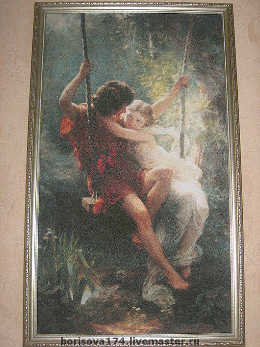 Reproductions handmade. Livemaster - handmade. Buy 'First love' A. Pierre Cote.Cross stitch, picture, hand embroidery