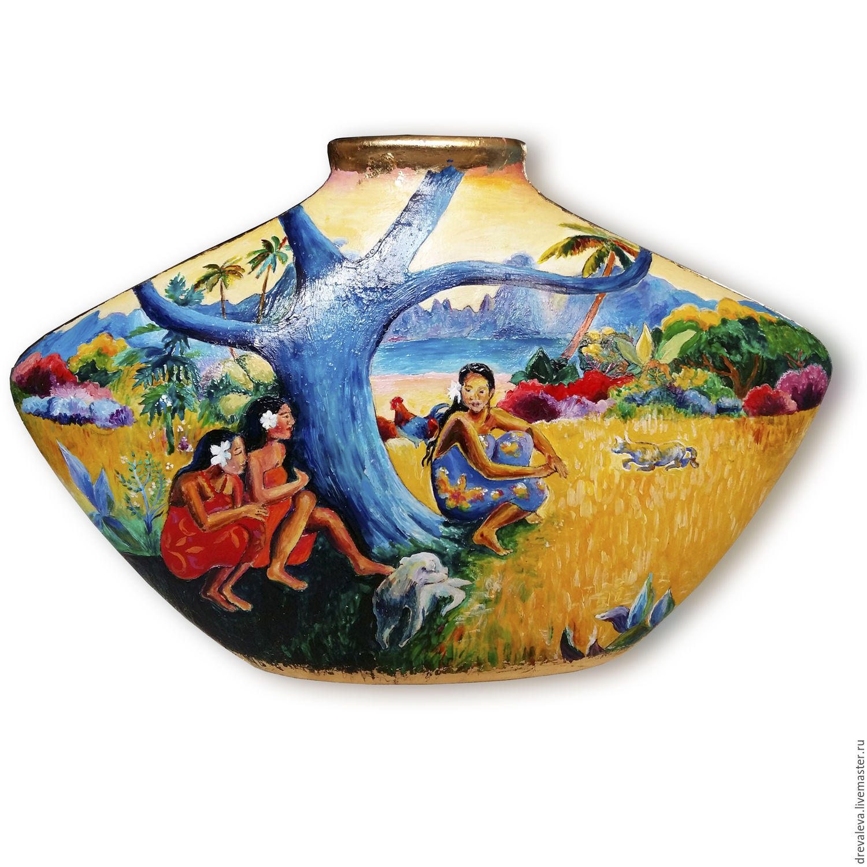 Vase hand painted in explanation of gauguin shop online on vases handmade livemaster handmade buy vase hand painted in explanation of gauguin reviewsmspy