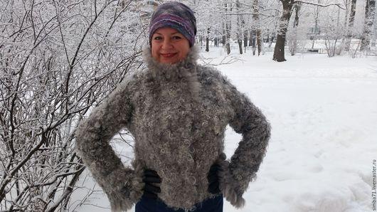 """Верхняя одежда ручной работы. Ярмарка Мастеров - ручная работа. Купить Валяная зимняя куртка """"Каракуль"""". Handmade. Серый"""