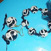 """Украшения ручной работы. Ярмарка Мастеров - ручная работа Комплект """"Ночная фантазия"""": браслет + серьги. Handmade."""