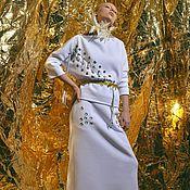 Одежда ручной работы. Ярмарка Мастеров - ручная работа Костюм теплый белый юбка длинная и свитшот. Handmade.