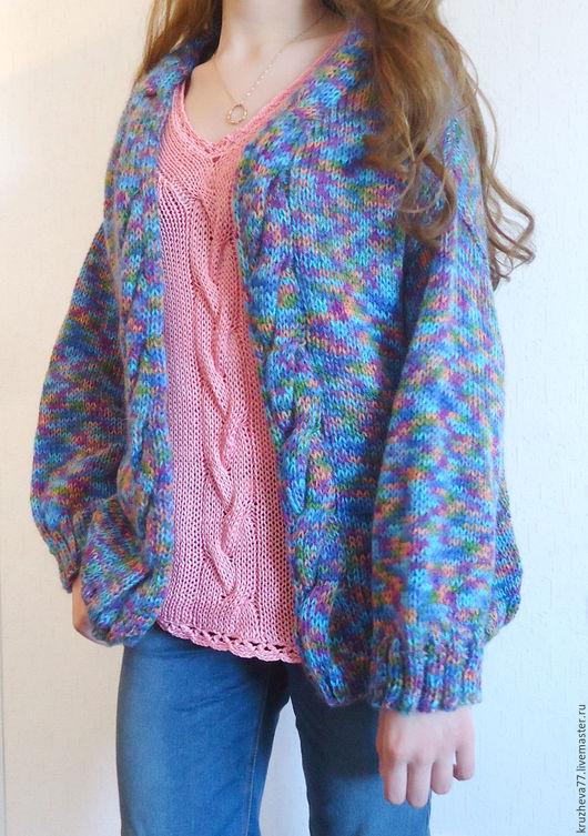 Кофты и свитера ручной работы. Ярмарка Мастеров - ручная работа. Купить Кардиган 44-46 размера из тонкого мохера. Handmade.