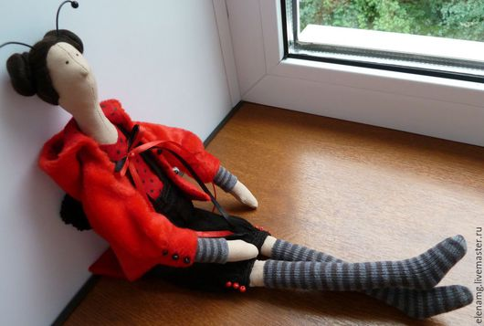"""Куклы Тильды ручной работы. Ярмарка Мастеров - ручная работа. Купить Кукла Тильда """"Девочка Божья Коровка"""". Handmade."""