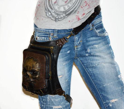 Рюкзаки ручной работы. Ярмарка Мастеров - ручная работа. Купить Сумка - рюкзак - Зомби. Набедренная сумка. Череп.. Handmade.