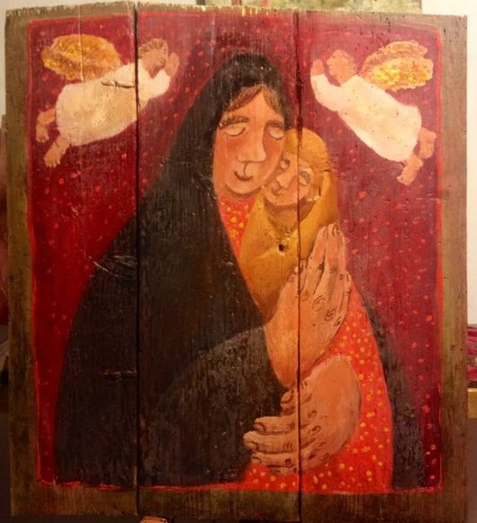 Иконы ручной работы. Ярмарка Мастеров - ручная работа. Купить Мариюшка. Handmade. Бордовый, икона, авторская работа, картина, материнство