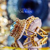 Украшения handmade. Livemaster - original item Cufflinks: Renata. color: Aquamarine in gold. Blue cufflinks.. Handmade.