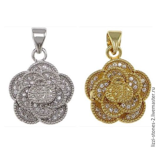 Подвеска Роза серебро и золото (Milano) Евгения (Lizzi-stones-2)
