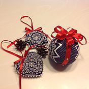Елочные игрушки ручной работы. Ярмарка Мастеров - ручная работа Игрушки на елку сине-белые. Handmade.