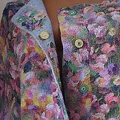 Одежда ручной работы. Ярмарка Мастеров - ручная работа Жакет валяный Цветочная поляна  шерсть 100% шёлк. Handmade.