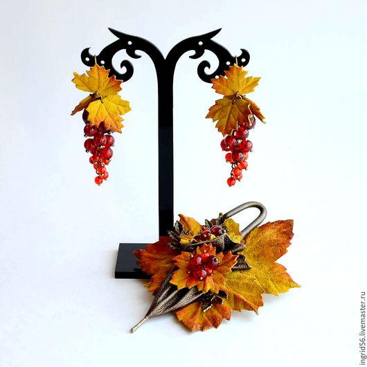 Серьги ручной работы. Ярмарка Мастеров - ручная работа. Купить Серьги из натуральной кожи и бусин Осенняя ягодка - 3. Handmade.