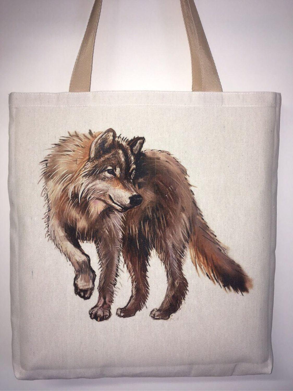 Экосумки с многоцветной печатью « Волк»