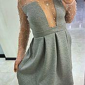 Платье из неопрена с сеткой