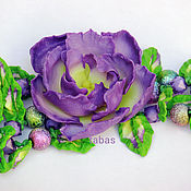 Украшения ручной работы. Ярмарка Мастеров - ручная работа Браслет объемный цветы Сиреневый полимерная глина зеленый винтаж. Handmade.