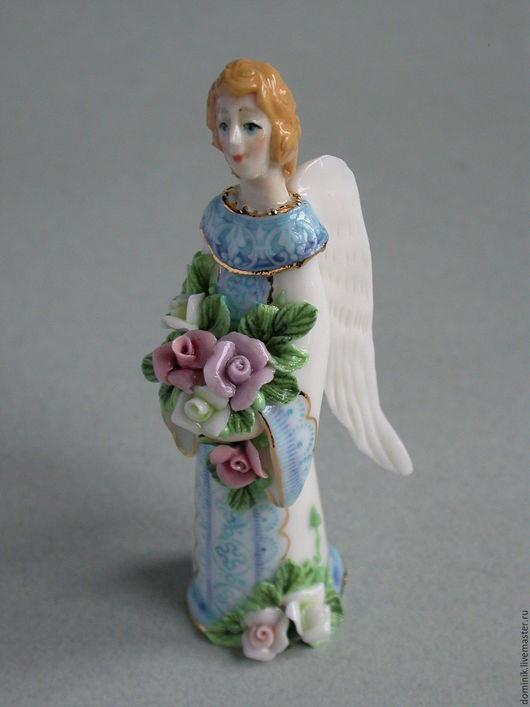 Колокольчики ручной работы. Ярмарка Мастеров - ручная работа. Купить Ангел с розами (колокольчик). Handmade. Разноцветный, коллекционный колокольчик